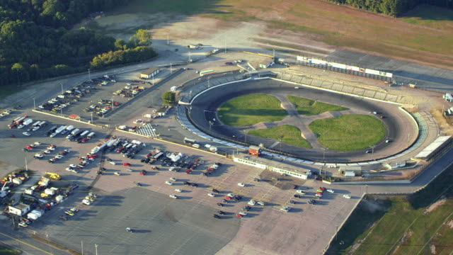 Small oval racetrack with racecars