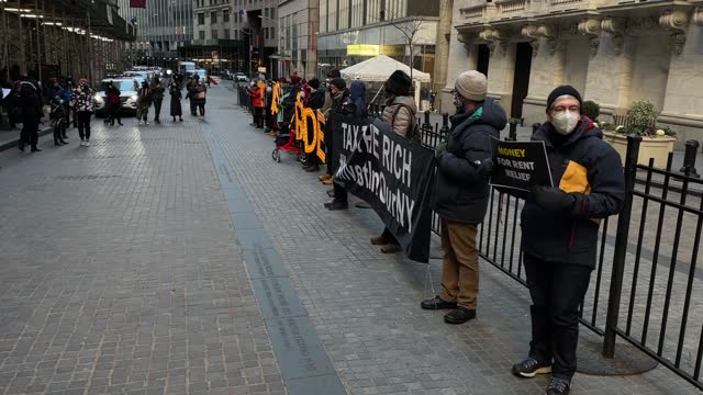 small peaceful protest have formed outside of the new york stock exchange on january 26, 2020. - small stock videos & royalty-free footage