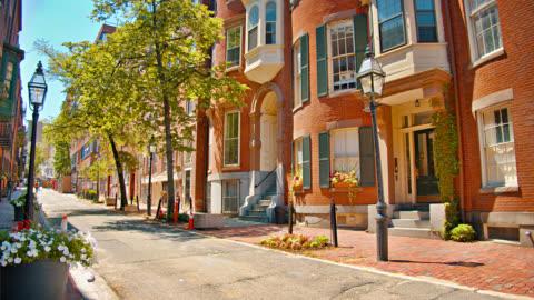 small pedestrian street. boston. walking. tree. narrow. brick house. retro old style. sunny day. historical place. - boston massachusetts stock videos & royalty-free footage