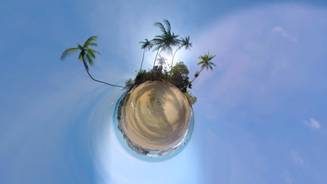 small planet effect of a beach in costa rica - 360 video stock videos & royalty-free footage