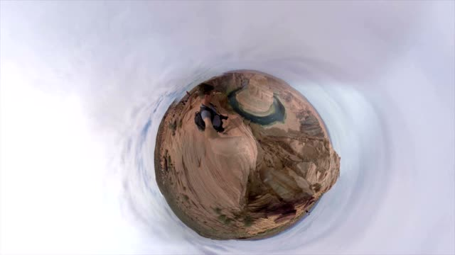 Small Planet Effect of one tourist at the Horseshoe Bend