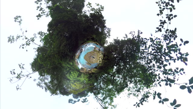 small planet effect of rio celeste - 360 video stock videos & royalty-free footage