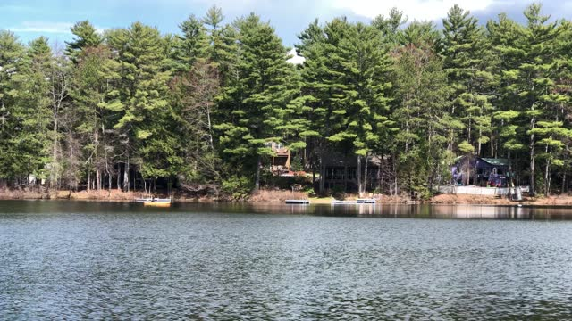 small pond near canton, maine with woman kayaking across the pond during springtime - using a paddle stock videos & royalty-free footage