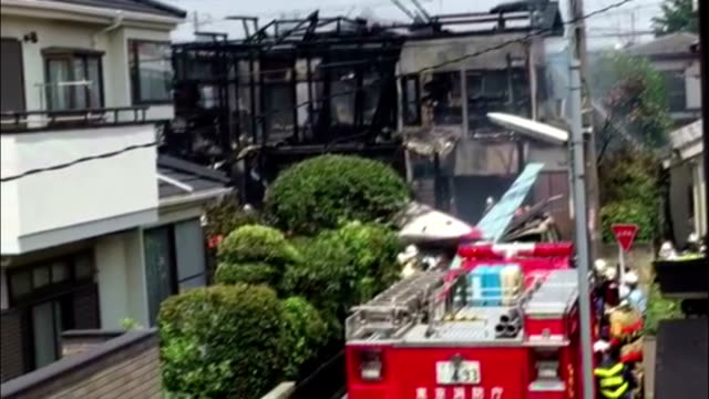 a small private aircraft crashed into homes in western tokyo on sunday morning killing three people and injuring five others police said the crash... - see other clips from this shoot 15 stock videos and b-roll footage