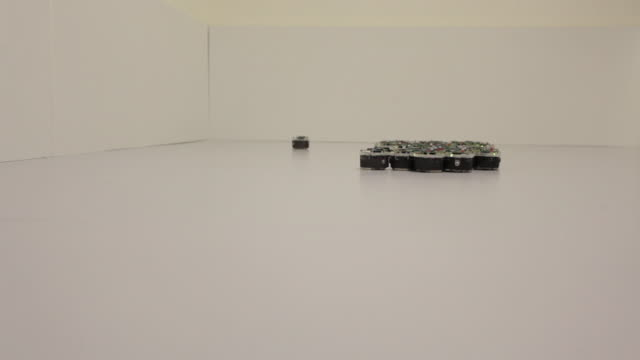 Small robots at the University of Sheffield are programmed to swarm together.