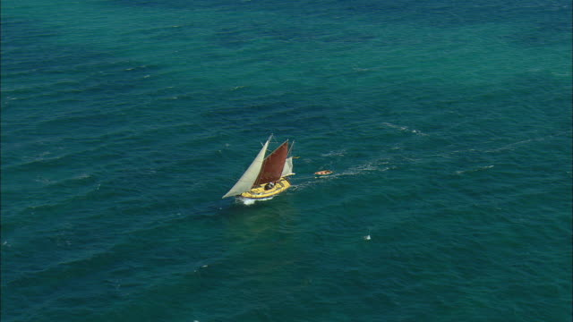 aerial small sailboat towing dinghy approaching solitary home on rose island, bahamas - ターコイズブルー点の映像素材/bロール