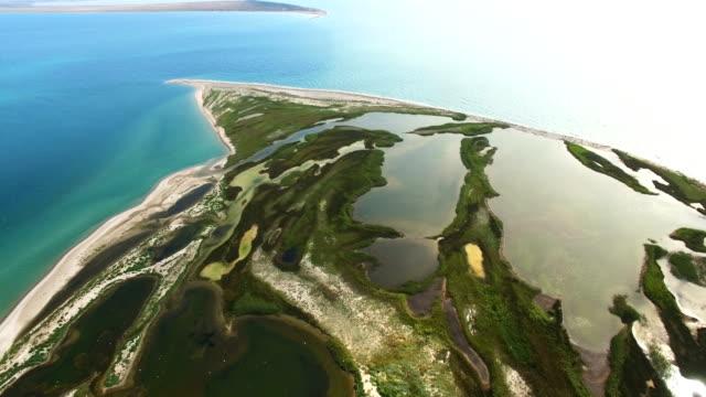 salt 湖と白砂のビーチを持つ空中: 小さな海の島 - 逆水点の映像素材/bロール