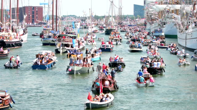 small ships and boats in sail 2015 - parade stock videos and b-roll footage
