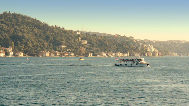 small shuttle cruising in istanbul city - bosphorus stock videos and b-roll footage