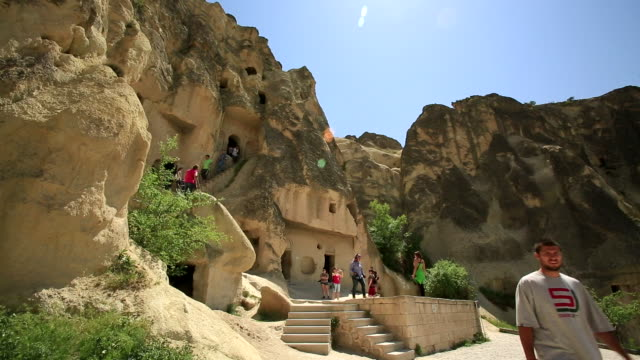 small steps, cappadocia, turkey - cliff dwelling stock videos & royalty-free footage