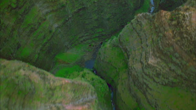 a small stream twists through a deep, narrow canyon. available in hd. - black canyon stock videos & royalty-free footage