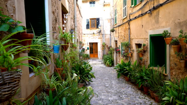 small street in mallorca, panning - mediterranean culture stock videos & royalty-free footage