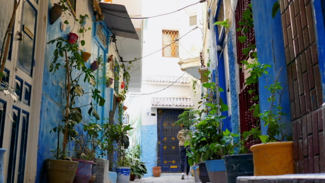 small street in tangier morocco - small stock videos & royalty-free footage