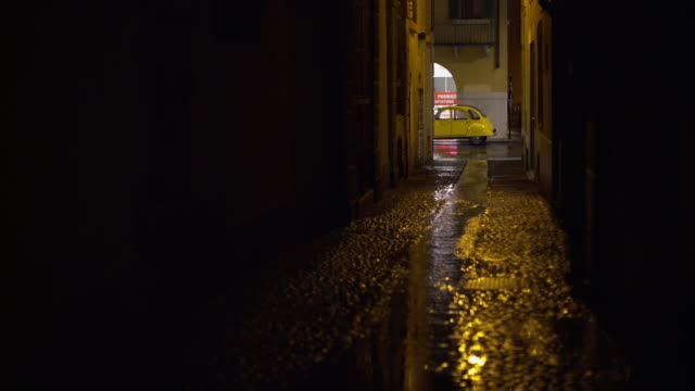 Small street with rain at night
