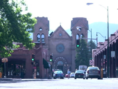 small town america downtown -time lapse- - santa fe new mexico stock videos & royalty-free footage