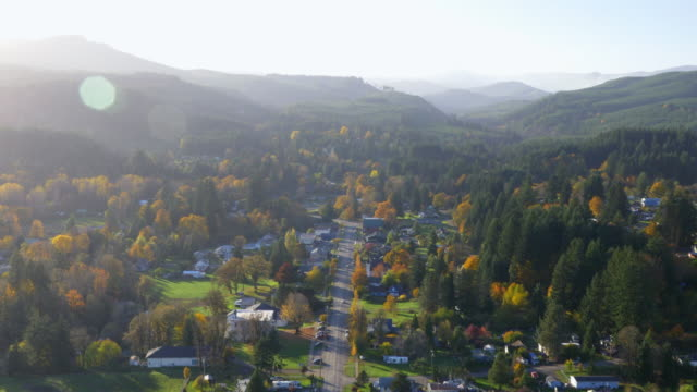 small town in valley aerial view 01 - small town america stock videos & royalty-free footage