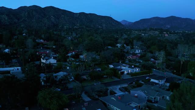 small town of la canada california at dusk - drone shot - establishing shot stock videos & royalty-free footage