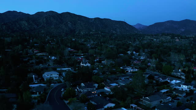small town of la canada california at dusk - drone shot - district stock videos & royalty-free footage