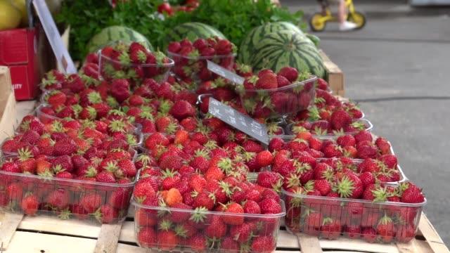 vídeos y material grabado en eventos de stock de pequeño mercado de verduras - colección de fresas - cesta