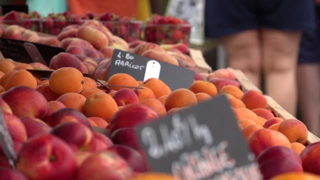 vidéos et rushes de petit marché de légumes - produit bio