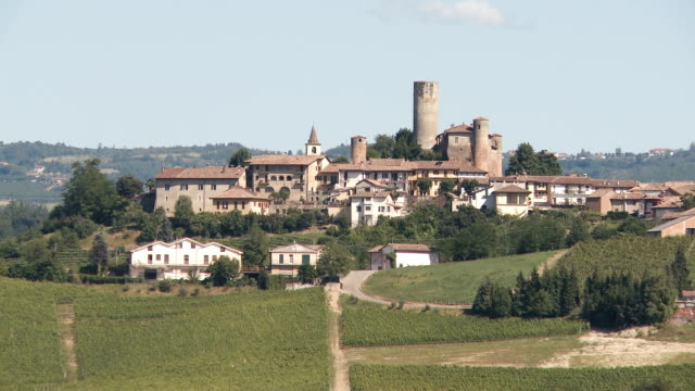 small village with a castle surrounded by vineyards in summer on a hot and sunny day - piemonte video stock e b–roll
