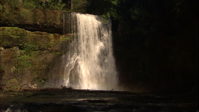 A small waterfall flows into a lake at Silver Falls State Park.