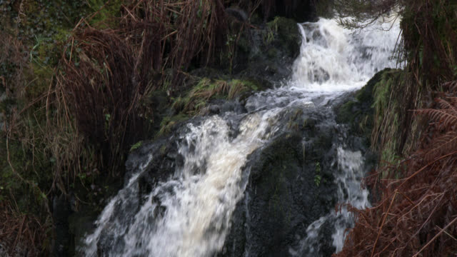 Small waterfall in Scottish countryside during autumn