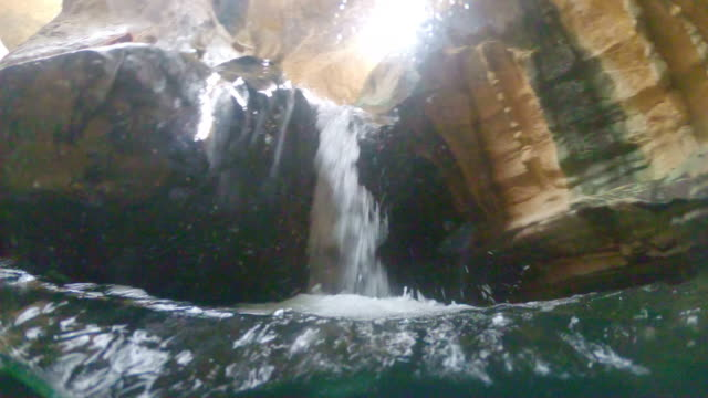 ws small waterfall in wadi shab - natural landmark stock videos & royalty-free footage