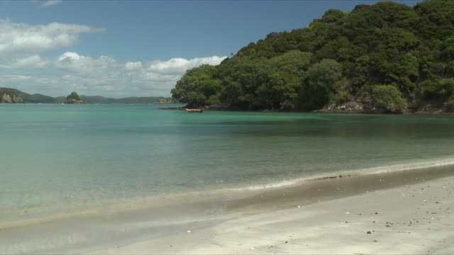 vidéos et rushes de ws pan small waves washing ashore idyllic beach, bay of islands, new zealand - bay of islands nouvelle zélande
