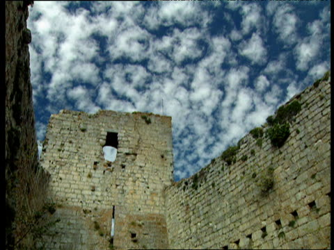 Small White Clouds Move Past Blue Sky Over Wall Of Castle