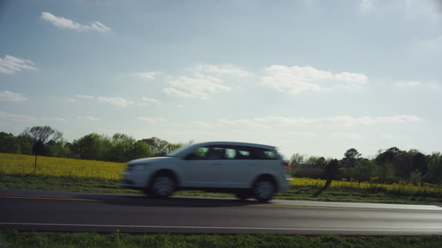 small white suv drives past camera on a rural highway with a field of yellow flowers. - sports utility vehicle stock videos & royalty-free footage