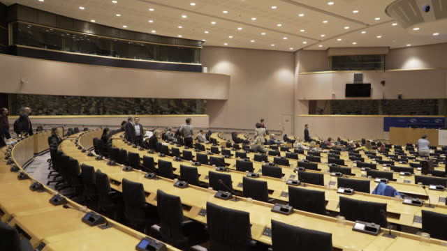 stockvideo's en b-roll-footage met a smaller assembly chamber at the european union in brussels. belgium. - conferentie
