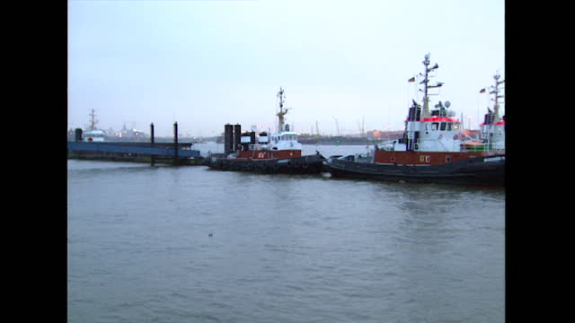 smaller boats moored up at port of hamburg; 1998 - 1998 stock videos & royalty-free footage