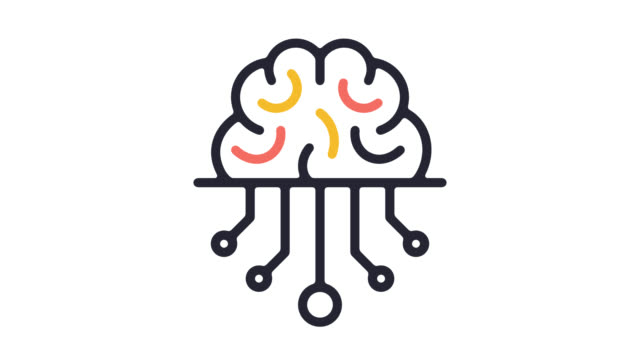 smart artificial intelligence line icon animation with alpha - outline stock videos & royalty-free footage