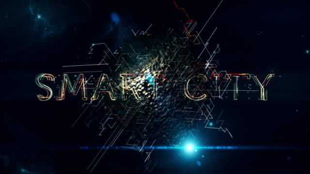 vídeos de stock e filmes b-roll de smart city cube - cidade inteligente