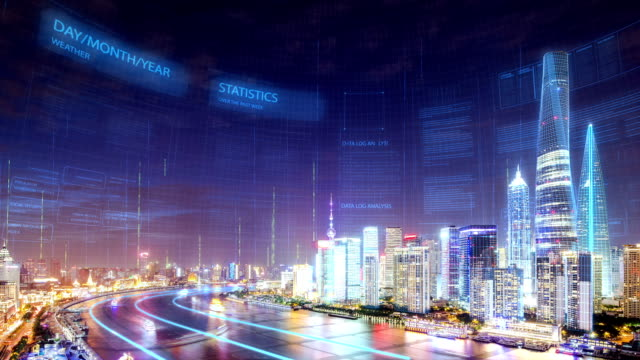 smart city in modern city shanghai - smart city stock videos & royalty-free footage