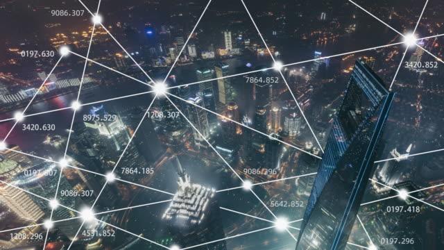 t/l ws ha smart city, shanghai skyline at night - smart city stock videos & royalty-free footage