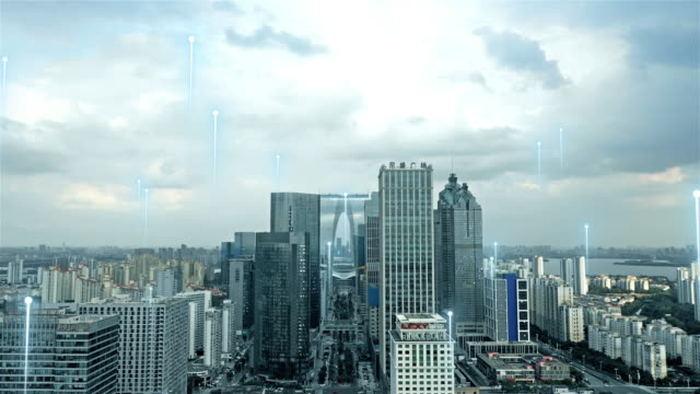 smart city with abstract line - smart city stock videos & royalty-free footage