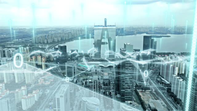 smart city with abstract line - smart stock videos & royalty-free footage