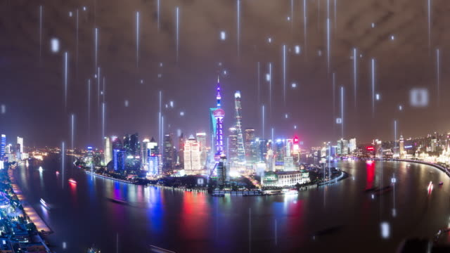 smart city with matrix - smart city stock videos & royalty-free footage
