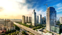 smart city with time lapse in hangzhou