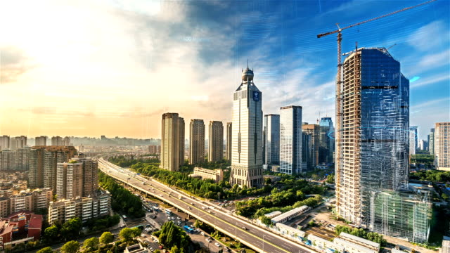 smart city with time lapse in hangzhou - smart stock videos & royalty-free footage