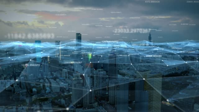 smart connected city skyline. futuristic network concept, city technology. - artificial intelligence stock videos & royalty-free footage