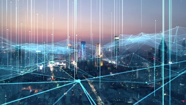 smart connected city skyline. futuristic network concept, city technology - smart点の映像素材/bロール