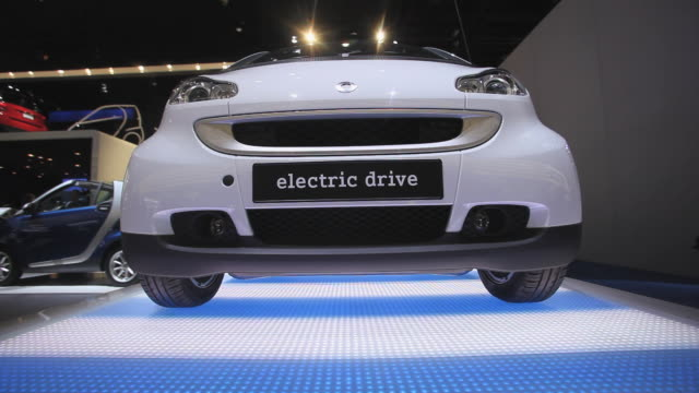 cu, smart electric car on display at detroit auto show, detroit, michigan, usa - illusion stock videos & royalty-free footage