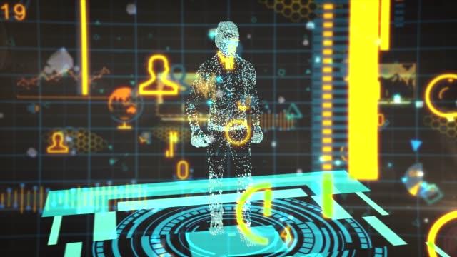 vídeos de stock, filmes e b-roll de smart hologram media digital person - e commerce
