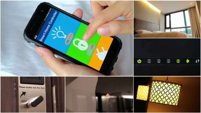 smart home automation, smart home app on smart phone - intelligence stock videos & royalty-free footage