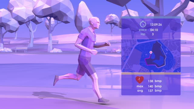 vídeos de stock e filmes b-roll de smart jogging - modelação low poly