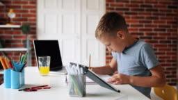 Smart Little Boy Does Homework in Her Room
