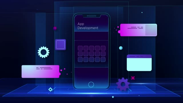 smart mobile development illustration - coding stock videos & royalty-free footage